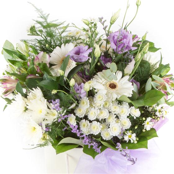White & Lilac Gift Bag All About Flowers Florist Swindon